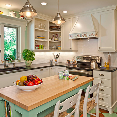Hurlbutt Designs Kennebunk Beach Cottage renovation photo of a beautiful redesigned kitchen.