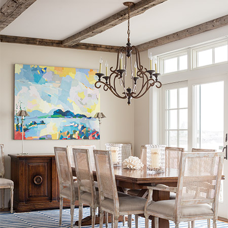 Hurlbutt Designs Oceanside Home Away from Home photo of the dining room with beautiful coastal views.