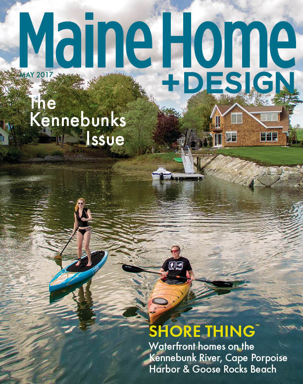Maine Home & Design May 2017 cover featuring a Hurlbutt Designs oceanside home.