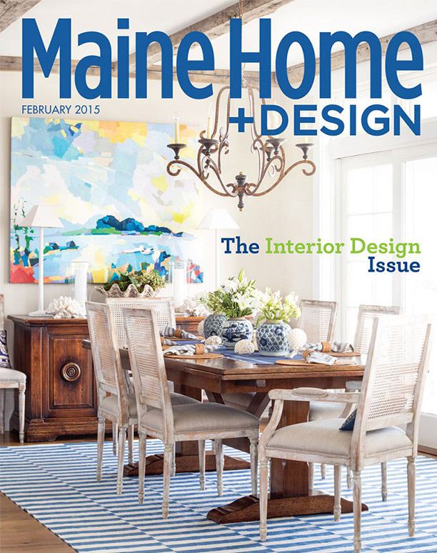 Maine Home & Design February 2015 cover featuring a Hurlbutt Designs kitchen for the Interior Design Issue.