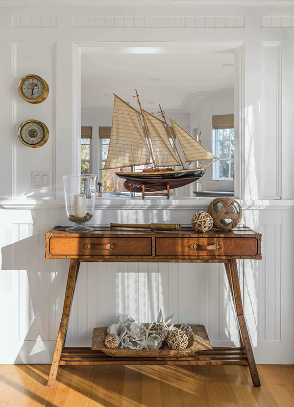 Sailboat and nautical theme interior design in Goose Rocks oceanfront home in Southern Maine