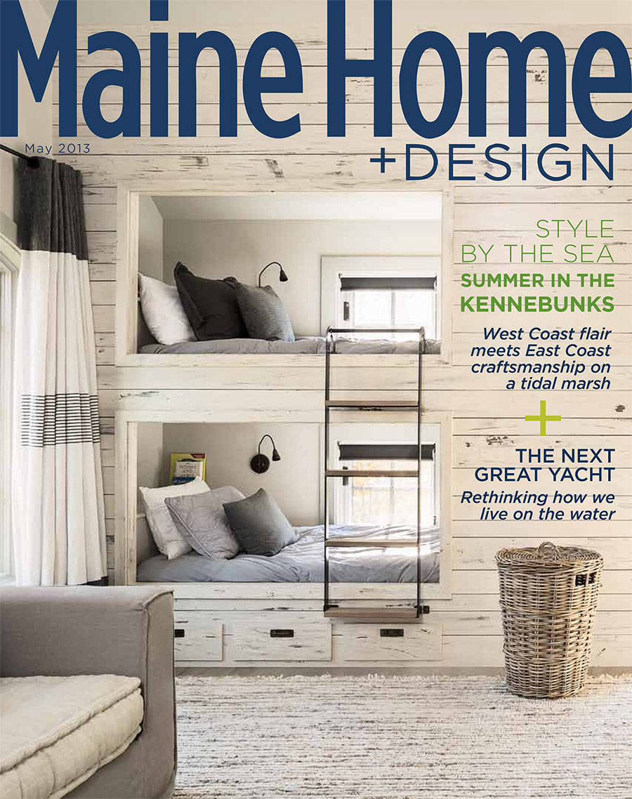 Maine Home & Design April 2013 cover featuring the exterior of a Frank W. Benson's North Haven, ME home with interior design by Hurblutt Designs.