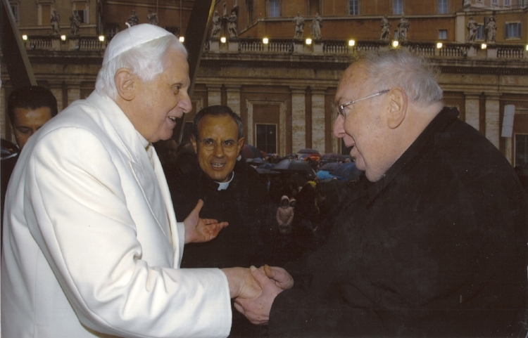 Greeting Pope Benedict XVI in Rome with Fr. Julian Carron, President of the Fraternity of Communion and Liberation.