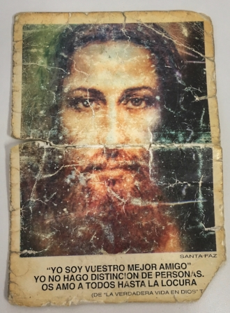 Holy Face prayer card found in Monsignor Albacete's wallet after his death.