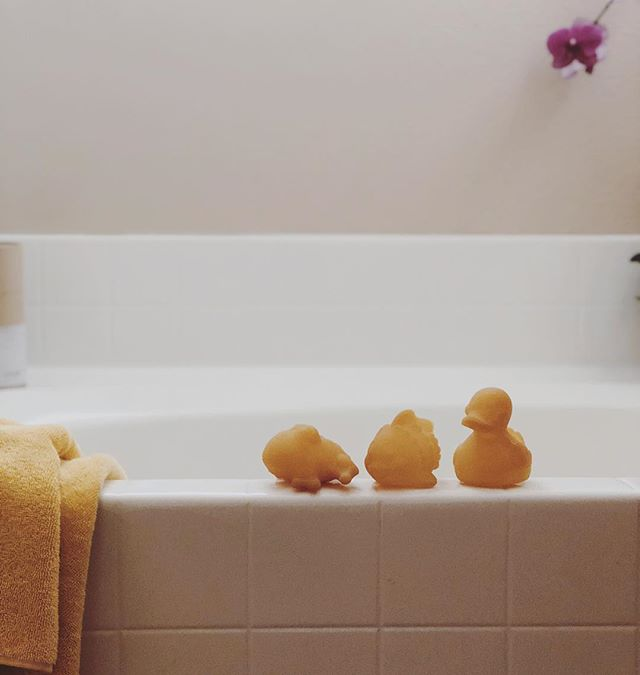 Just a couple of these Hevea bath toy sets left in the shop!  The set includes 3 pond animals (duck, frog + fish) all non toxic + 100% natural rubber bath toys.