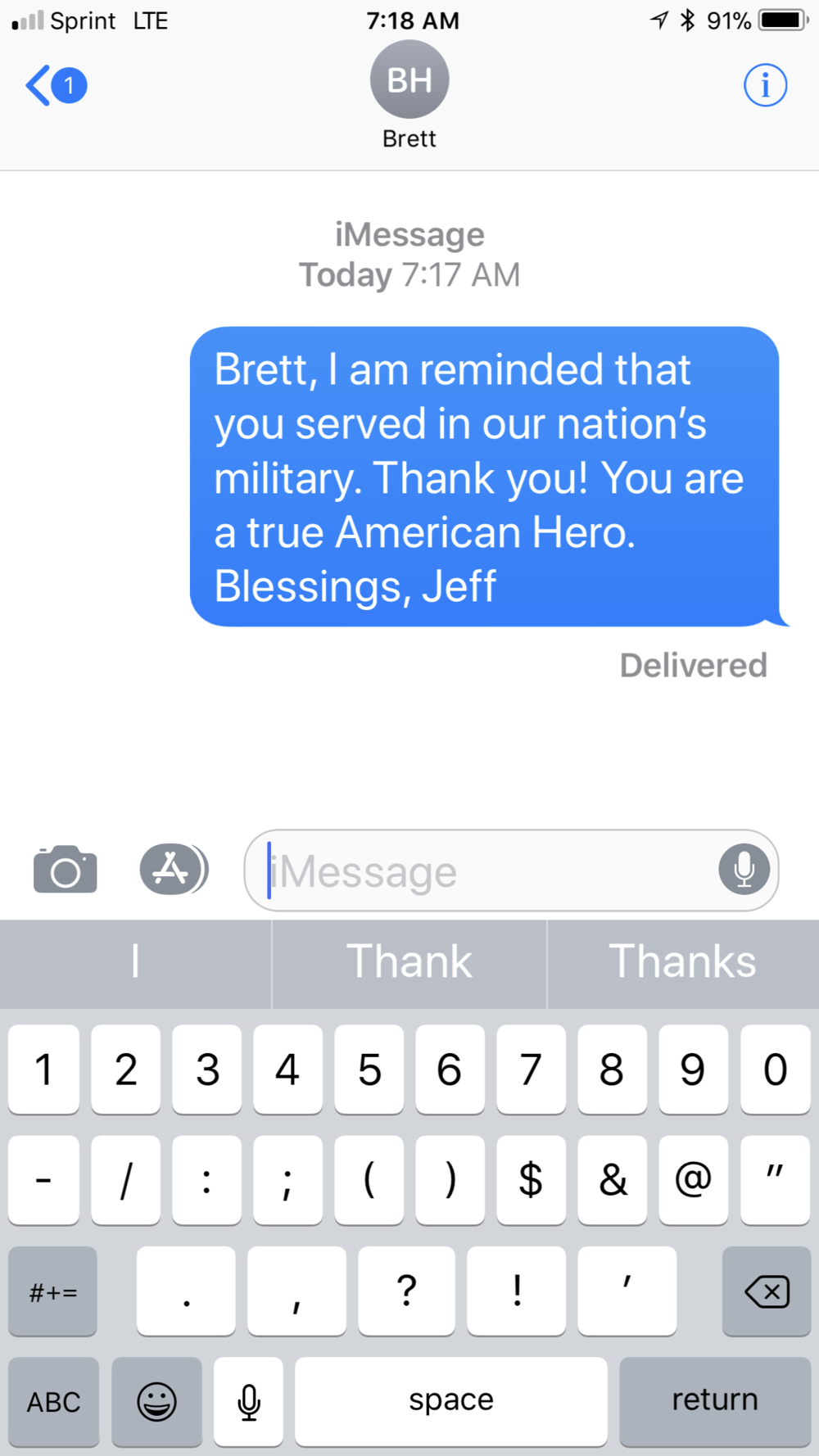 A text to a Veteran to say  thank you  for serving.