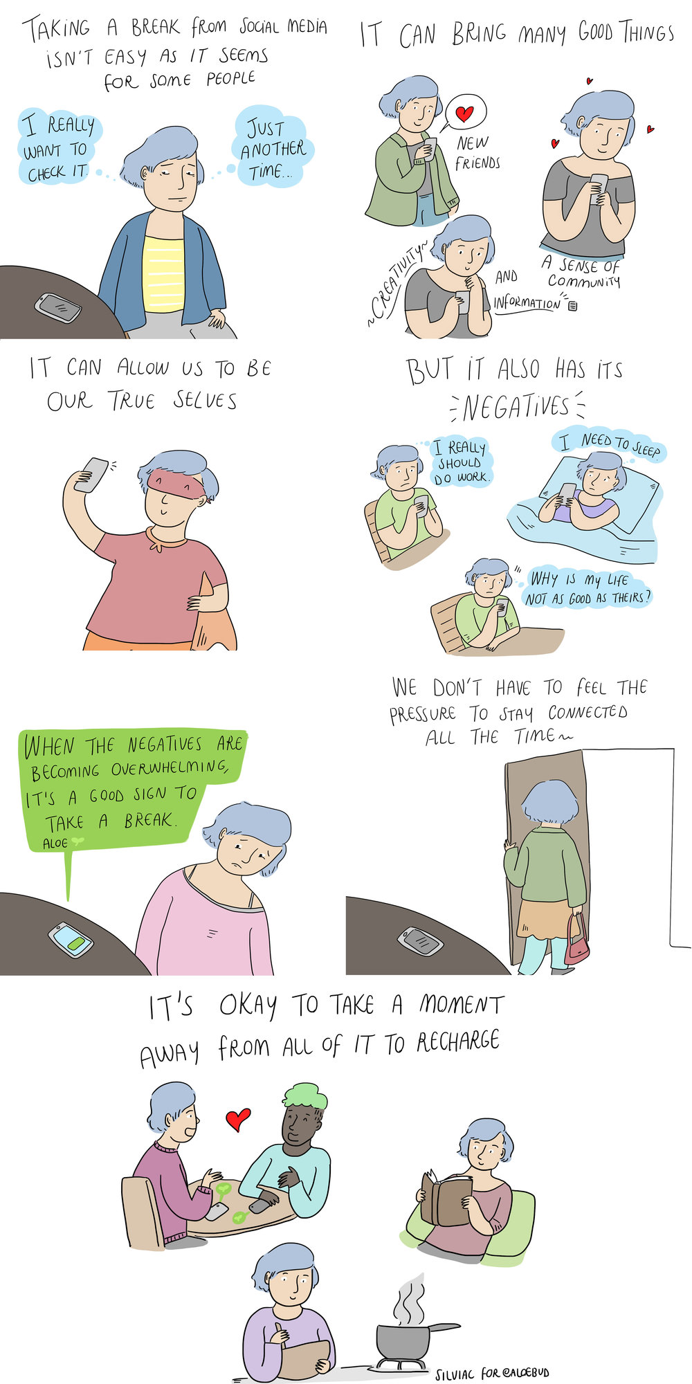 Taking a Break    Comic for self care app Aloe.