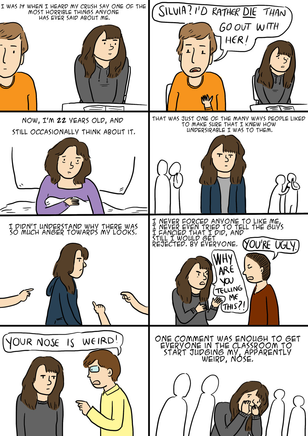 A Journey Through Self Image   Comic about bullying for website The Establishment.