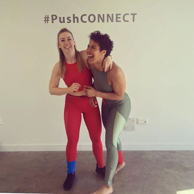 You are having a LAUGH! No. They are having one. The lovely @samprynn and @liftinthecity from @strongher_women were at #pushconnect @pushprlondon @pushprshowroom yesterday rocking out in top to toe MYSPORTLONDON gear. Gorgeous. #squadgoals #girlband #girlsthatlift . Sometimes doing something different and sticking your head above the parapet is SCARY but sometimes it's just the right thing to do. Hold your nerve.