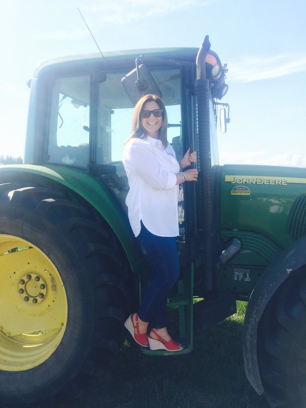 Fun on a tractor during a work event
