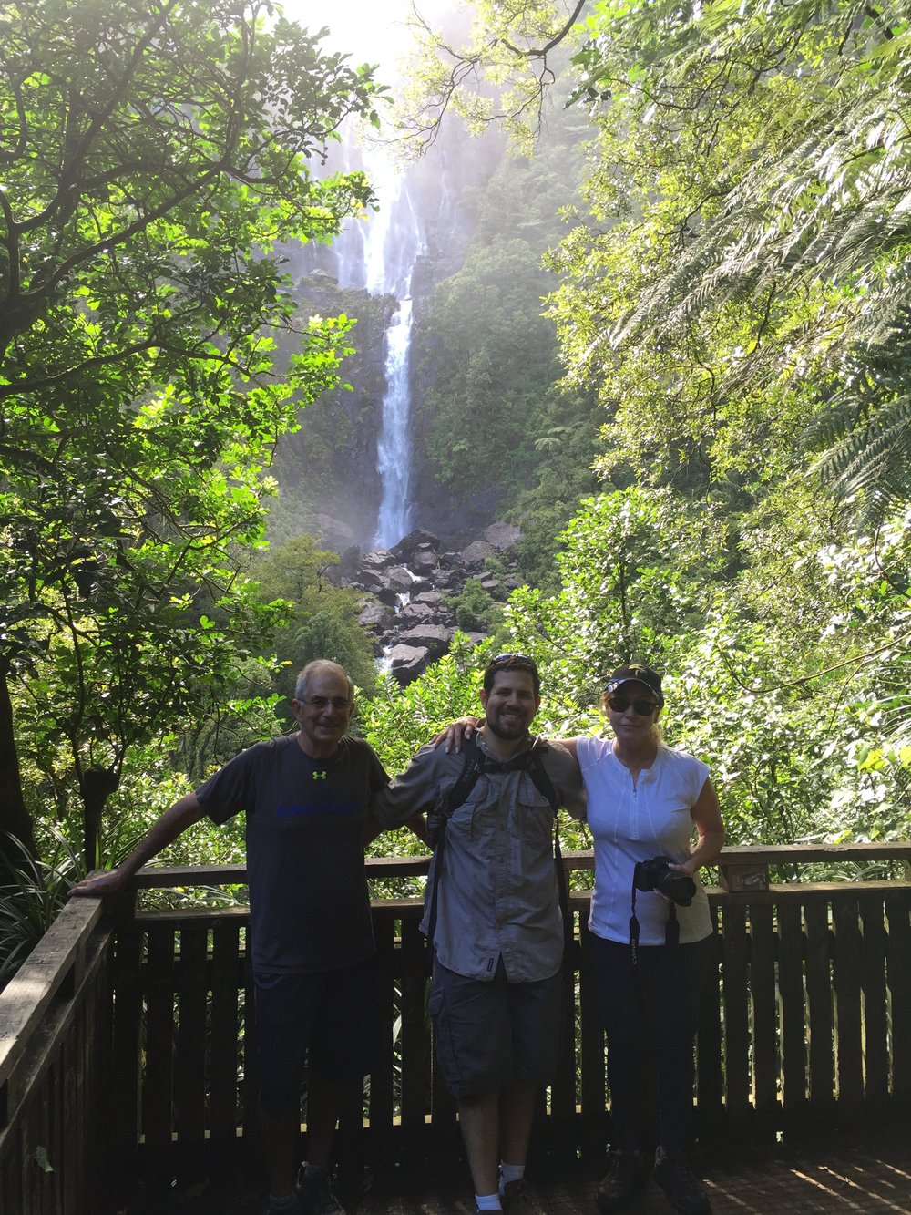 Joseph and Parents hiking to the falls