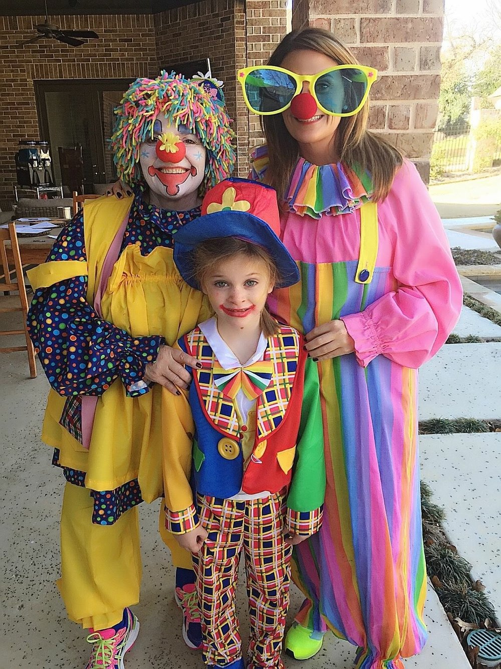 My niece, Kate, wanted a clown birthday party so my mom and I dressed the part!