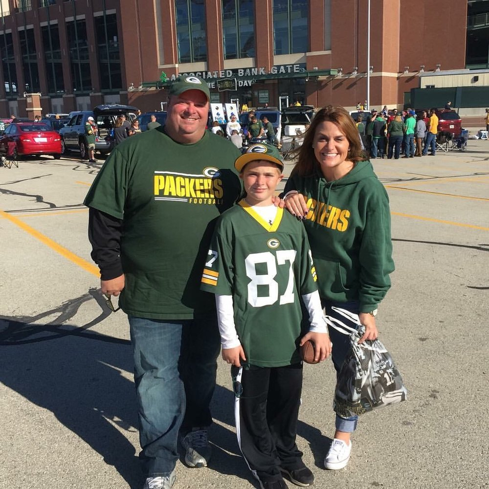 My nephew's first time at a Packers game!