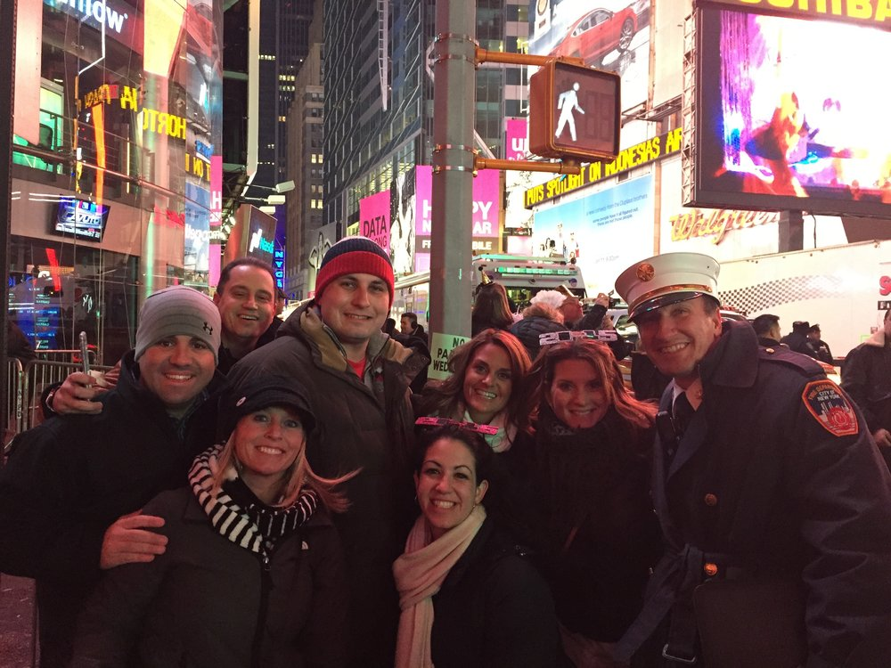 Celebrating New Year's Eve in New York City. We got to see the ball drop in Times Square!