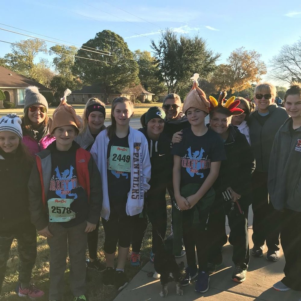 Family and friends before our annual Turkey Trot run in our neighborhood. Even Brodie made the 3 mile trot before we filled our bellies the rest of the day!