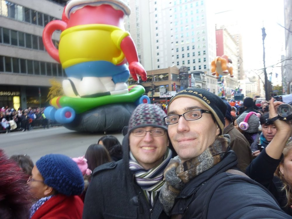 This was our first Thanksgiving together! We made it to Harold Square to see the Macy's parade and back to our apartment in time to finish the turkey!