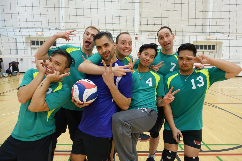 We are both avid volleyball players and love when we can play on the same team. Here we are after winning a Silver Medal at the President's Pride Cup in 2017!