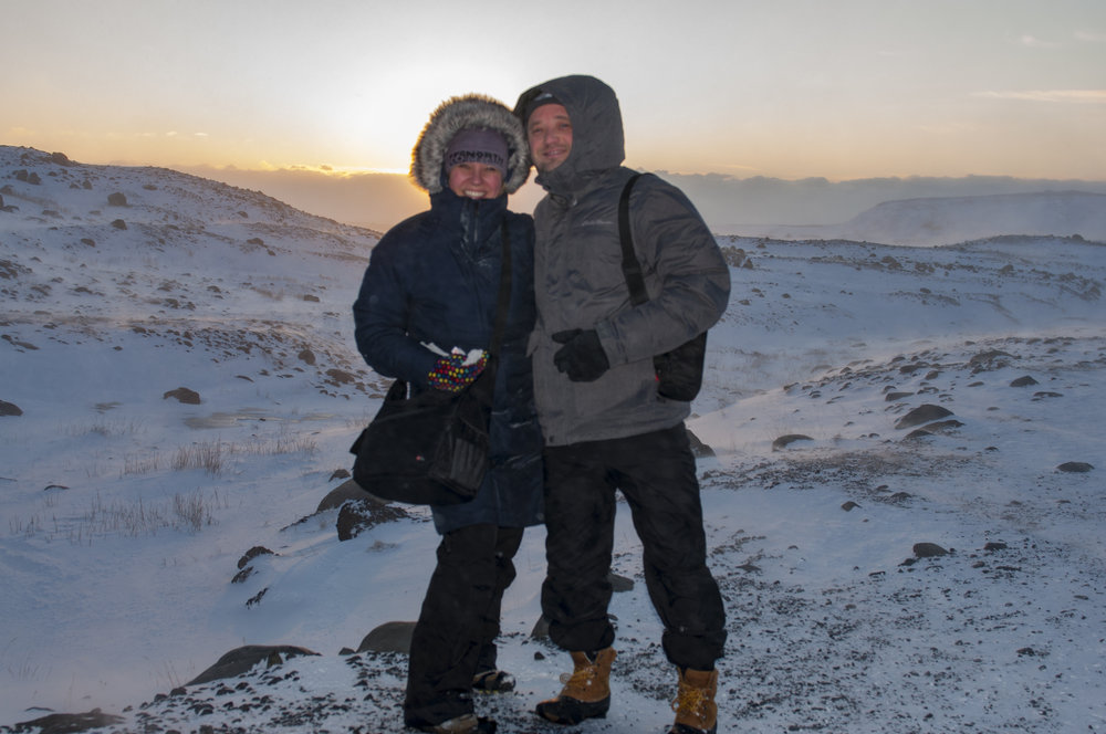 Hiking on a glacier in Iceland