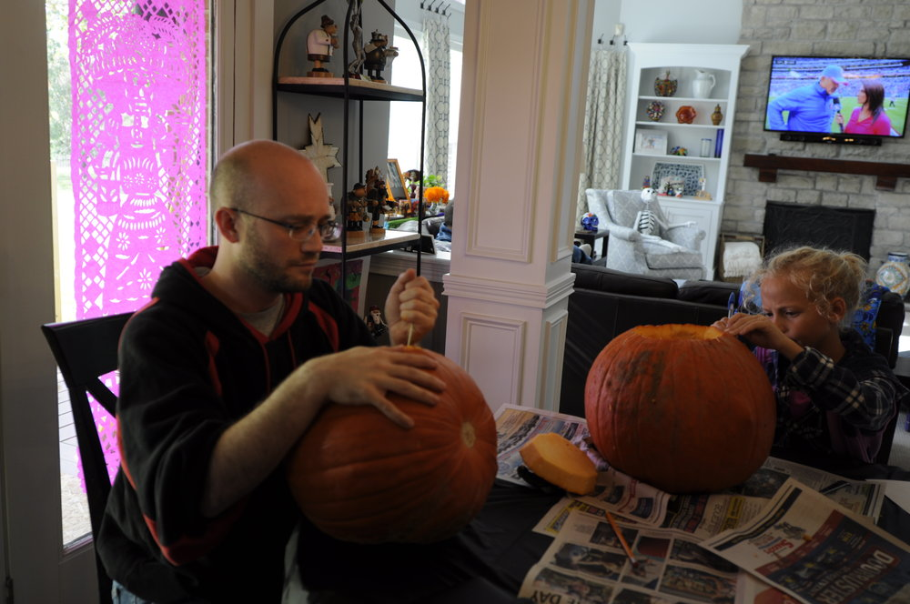 Carving pumpkins with our nieces