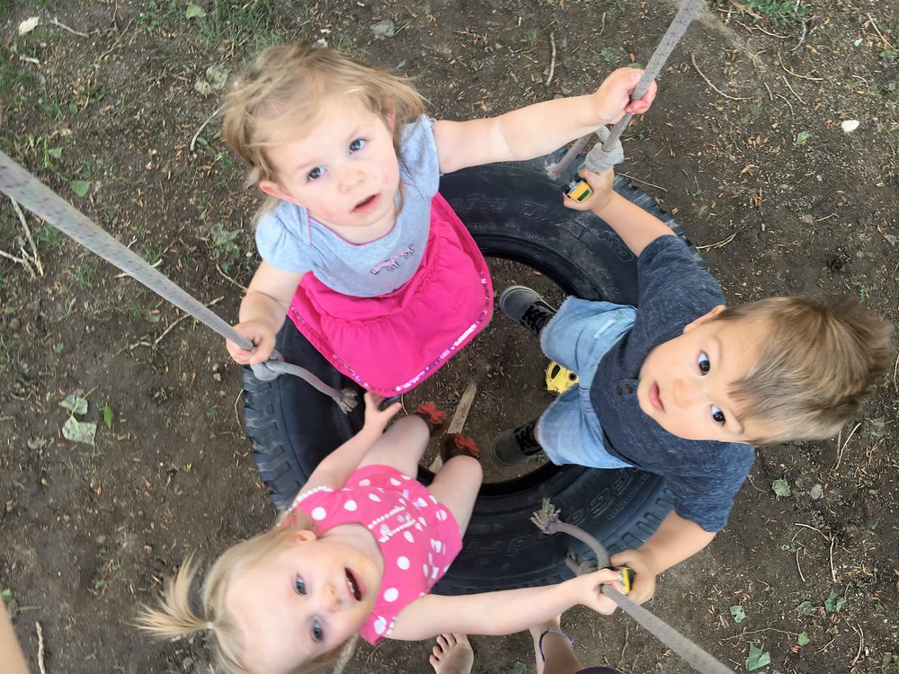 Tire Swing with Friends