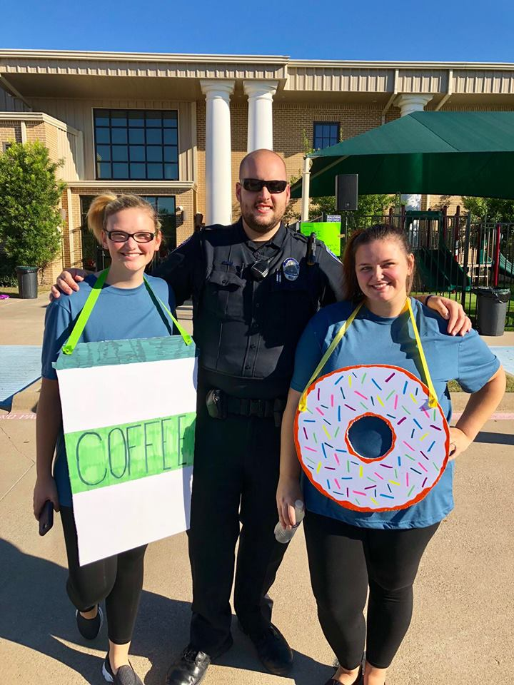 We dressed up with Whitney's sister, Jessey, as a police officer with his donut and coffee for Halloween!