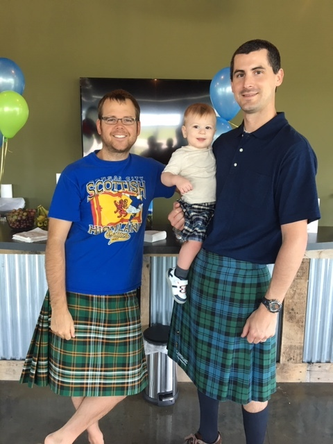 Jesse and his friends love wearing their kilts to show their heritage!