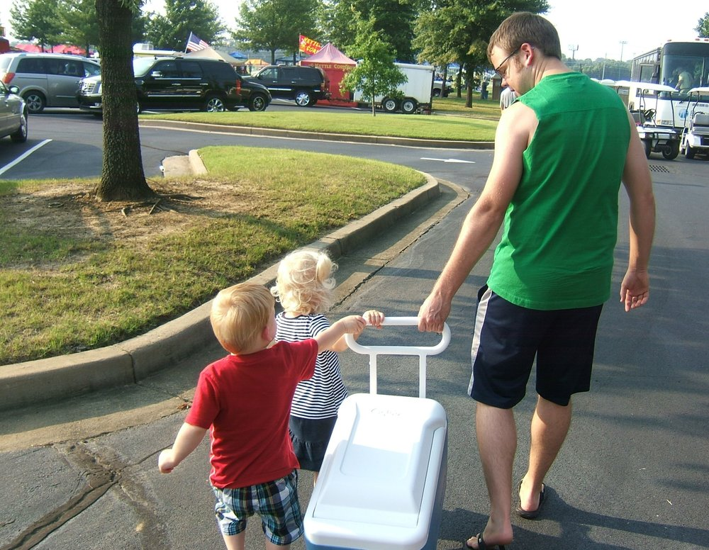 Jesse getting help from our niece & nephew on the 4th of July!