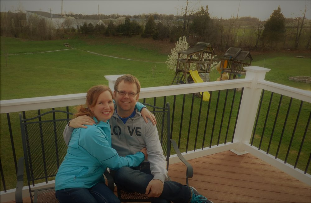 On our deck overlooking our backyard!