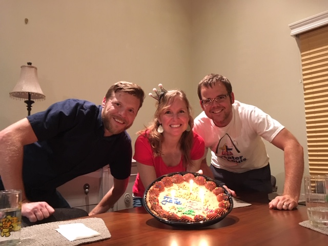 Jesse, Becky, & Becky's brother (Matt) celebrating all our birthdays!