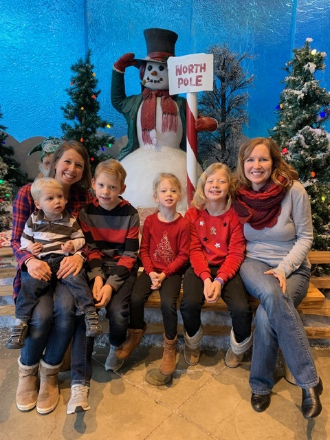 Becky visiting Santa with Jesse's sister & our nieces & nephews!
