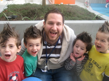 """Shalom being silly and matching """"faux hawks"""" with his students"""