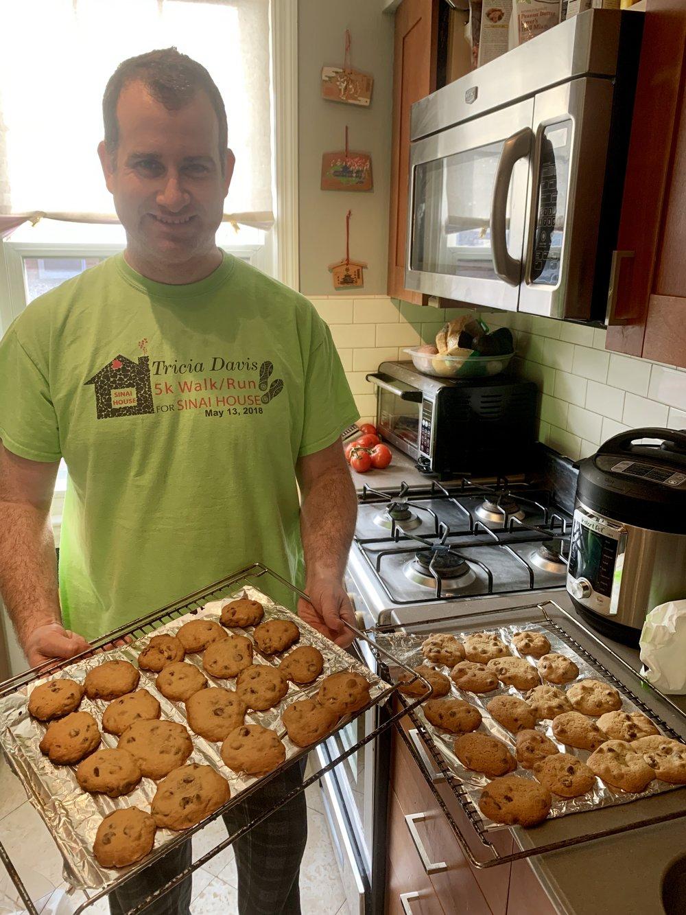 Adam baking cookies... yummy!