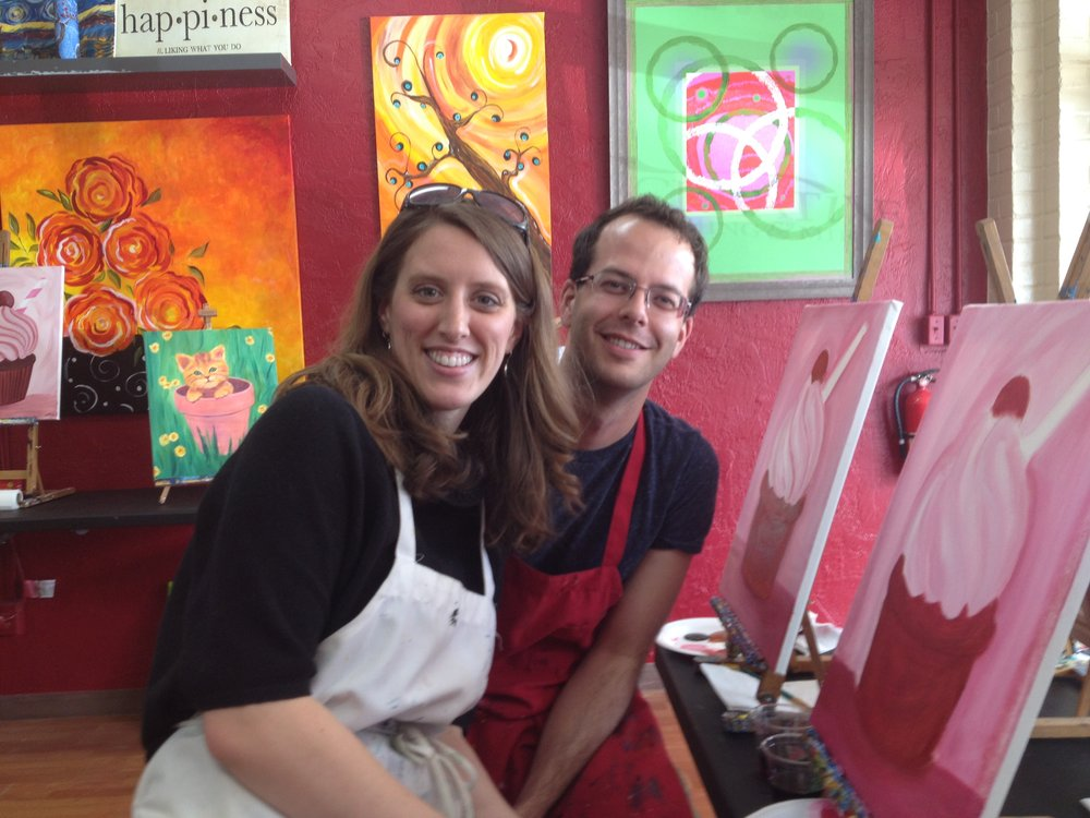 We love all the arts! Here we took a fun painting class with friends