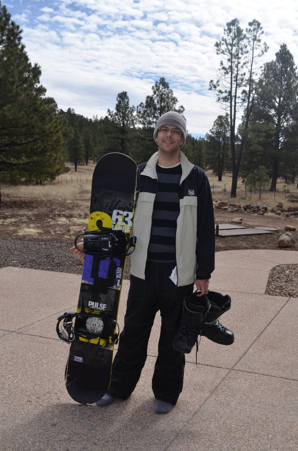 Snowboarding near Daniel's parent's house in Flagstaff