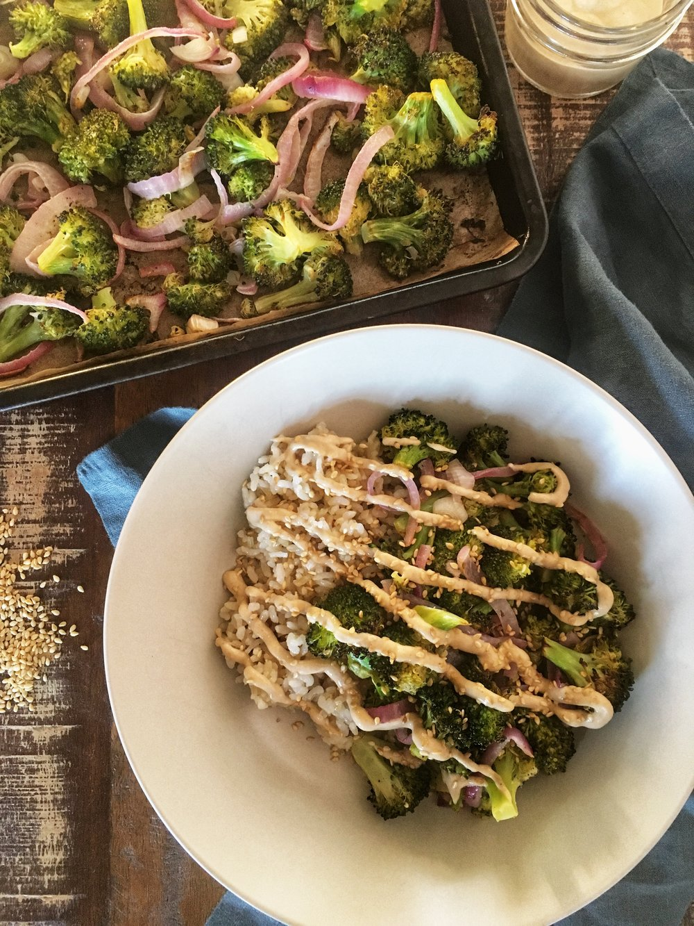 Roasted Broccoli with Tahini Sauce for Two #vegan #glutenfree #tahini