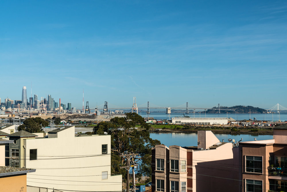 Turn opposite the stairs and you'll be treated to this ensemble view of downtown San Francisco and the two Bay Bridges.