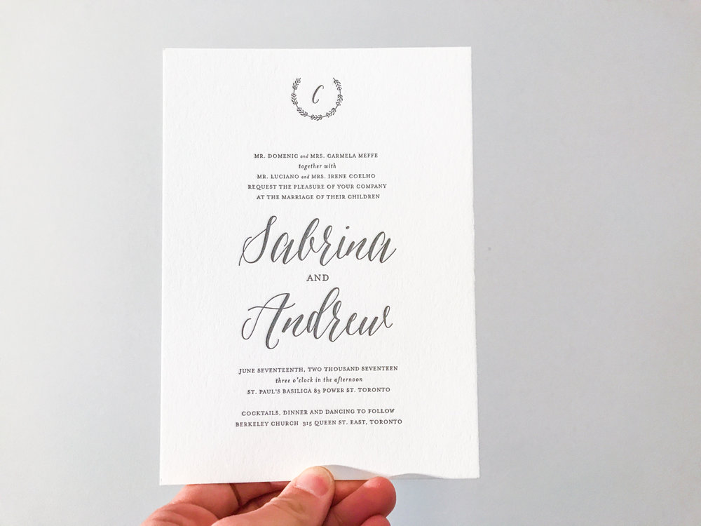 Sabrina & Andrew's   Elegant Toronto wedding invitations