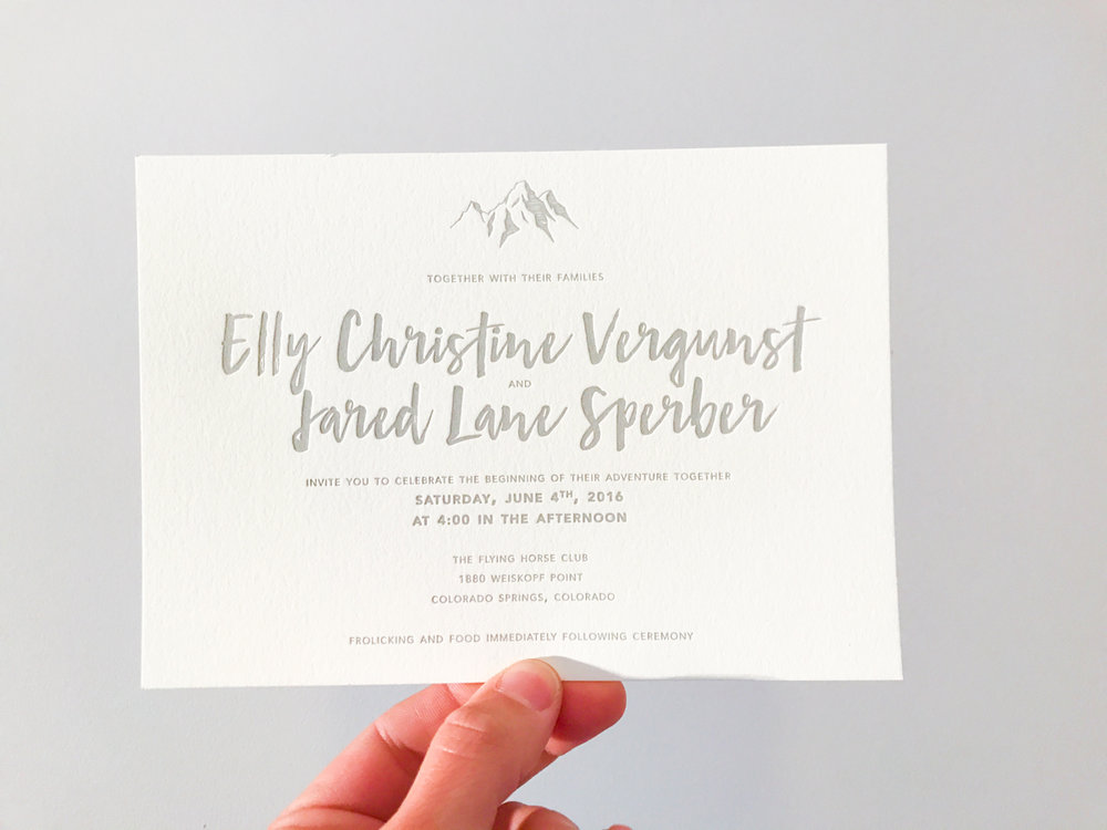 Christi & Jared's      Colorado mountain themed invitations
