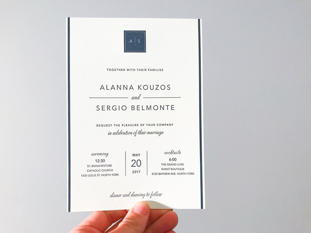 Alanna & Sergio's   Modern Toronto wedding stationery