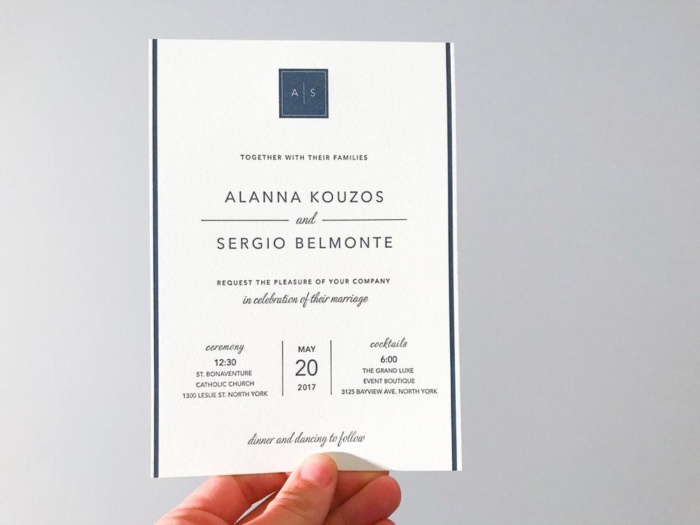 Alanna & Sergio's   Modern Toronto wedding stationery