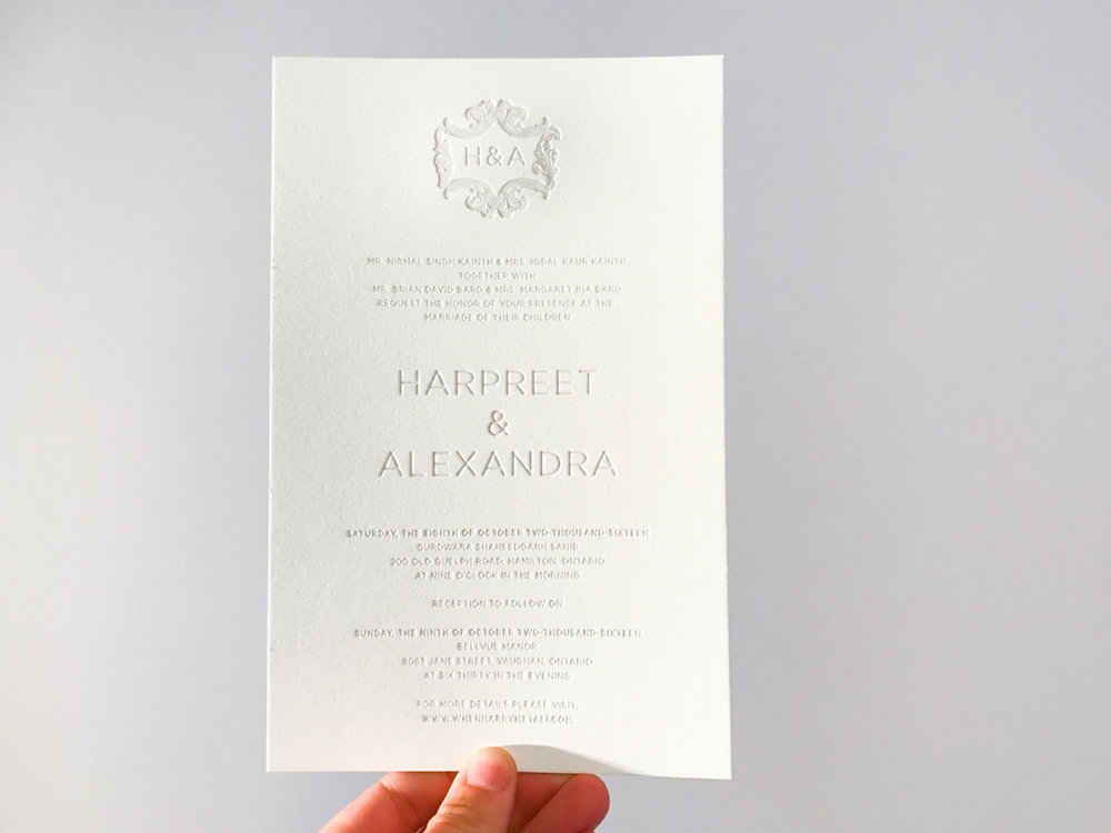 Harpreet & Alexandra's   Modern Indian wedding stationery