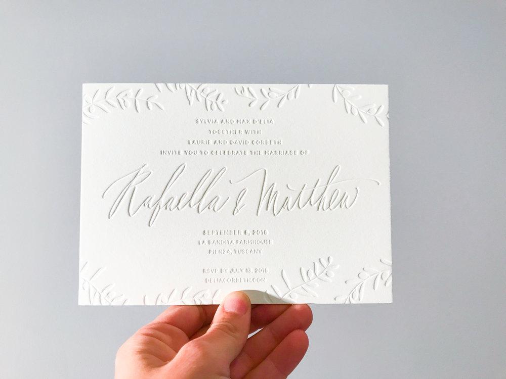 Rafaella &Matthew's   Romantic Tuscan Wedding Invitations