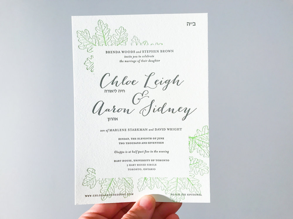 Chloe & Aaron's   Classical Toronto Wedding Invitations