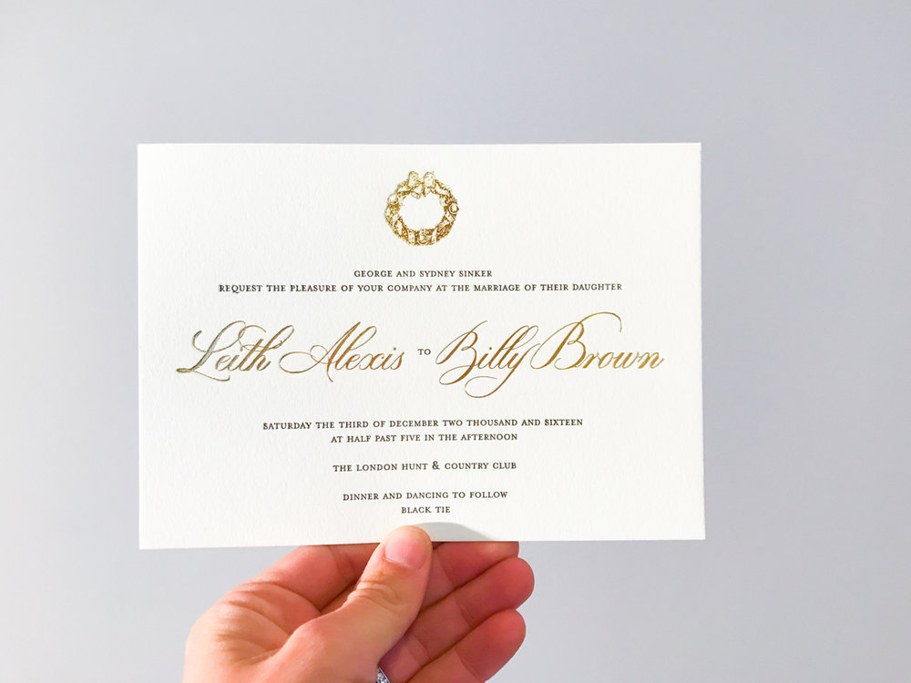 Leith & Billy's   luxurious winter wedding stationery