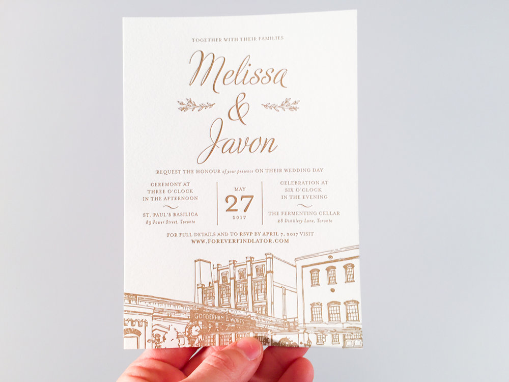 Melissa & Javon's   Toronto Distillery District invitations