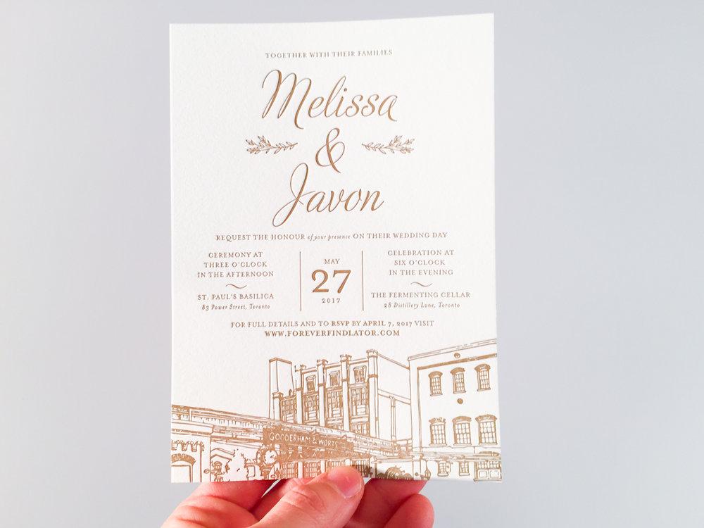 Melissa & Javon's   Toronto Distillery District invitations