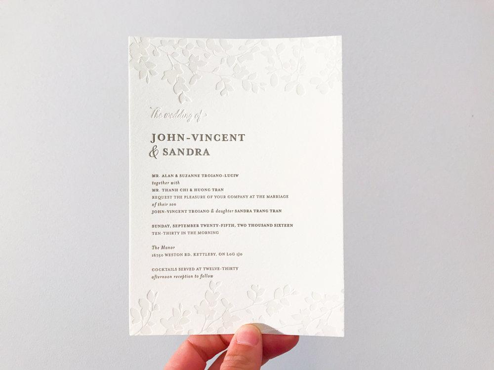 John-Vincent & Sandra's   elegant Toronto wedding invitations