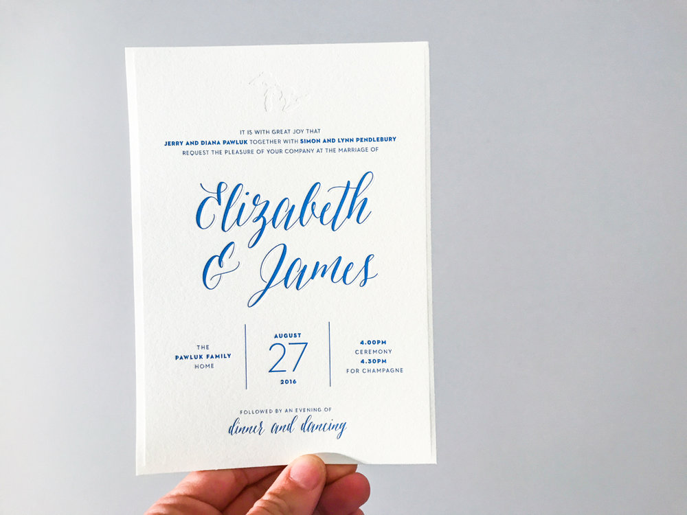 Elizabeth & James'   modern lakeside wedding invitations