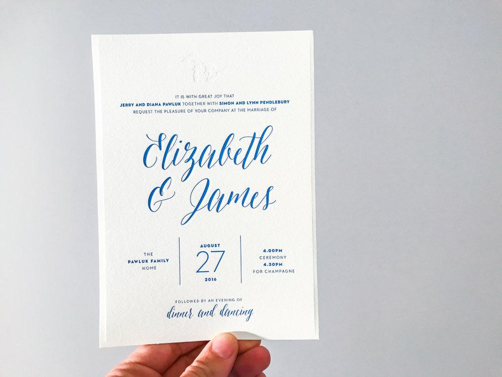 Elizabeth & James'  modern lakeside wedding invitations
