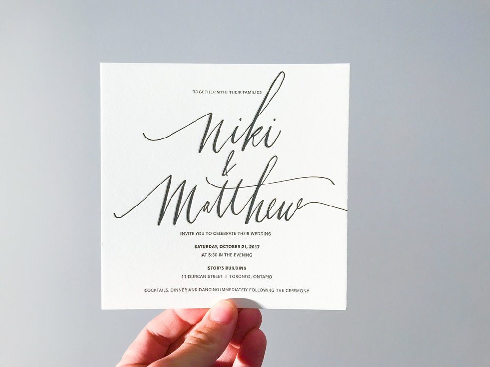 Niki & Matthew's   Modern Calligraphy Wedding Invitations